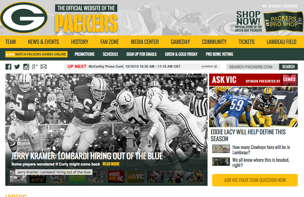 Brand content is a dominant factor in sports journalism today but poses questions well beyond this arena. (Screenshot of packers.com)